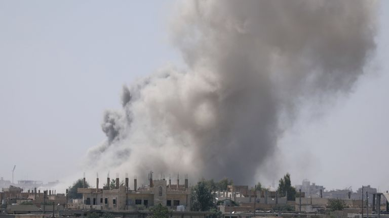 Smoke rises from the al-Mishlab district in south-east Raqqa. Picture: June 7