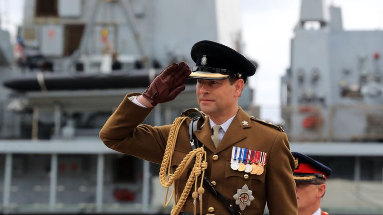 The Earl of Wessex salutes on Armed Forces Day 2017