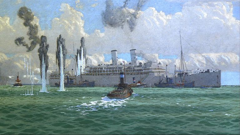 The previously unknown painting shows the WWII attack on the Lancastria