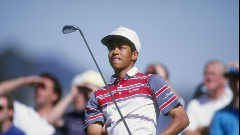 Tiger Woods aged 16 at the Los Angeles Open in February 1992