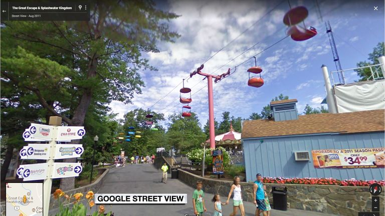 """The """"Sky Ride"""" at Six Flags Amusement Park, Lake George, New York"""