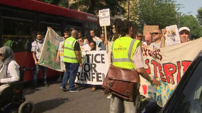 A large group of those affected by the Grenfell fire march in protest at the way they have been treated