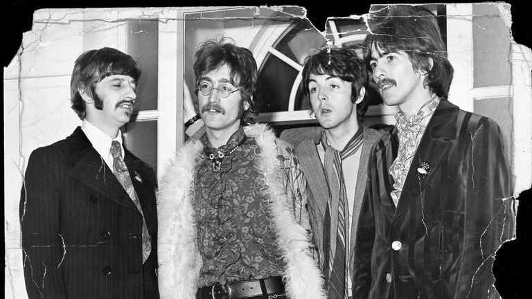 Starr, Lennon, McCartney and Harrison at Brian Epstein's party to launch Sgt. Pepper S Lonely Hearts Club Band