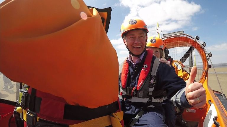 Tim Farron on a hovercraft during campaign