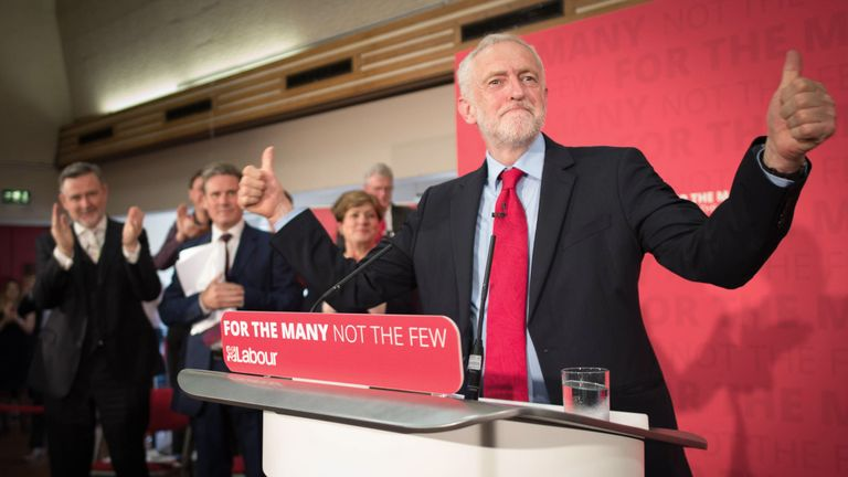 Jeremy Corbyn delivers a speech on the General Election campaign trail in Essex