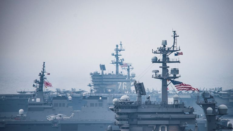 The USS Carl Vinson and USS Ronald Reagan take part in the exercises in the Sea of Japan