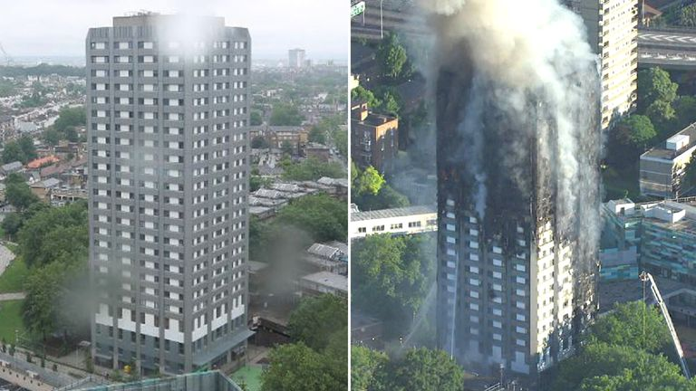 Grenfell Tower before and after the fire. Pic: Rydon