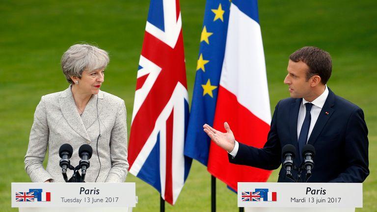 Theresa May meets French president Emmanuel Macron in Paris