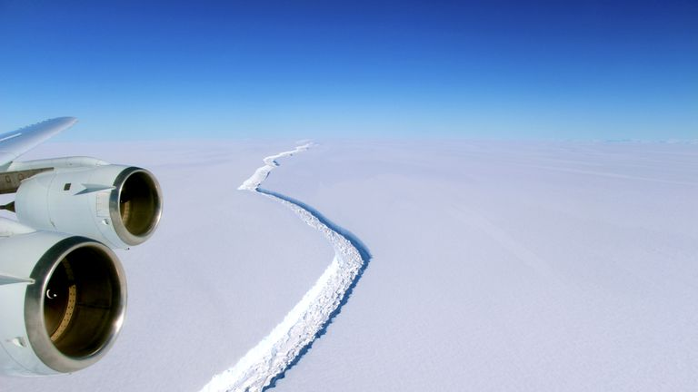 A rift across the Larsen C Ice Shelf is seen during an airborne survey over the Antarctic Peninsula from NASA's DC-8 research aircraft on November 10, 2016