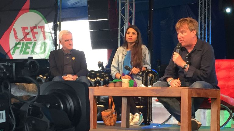 John McDonnell appears at a panel event at Glastonbury Festival