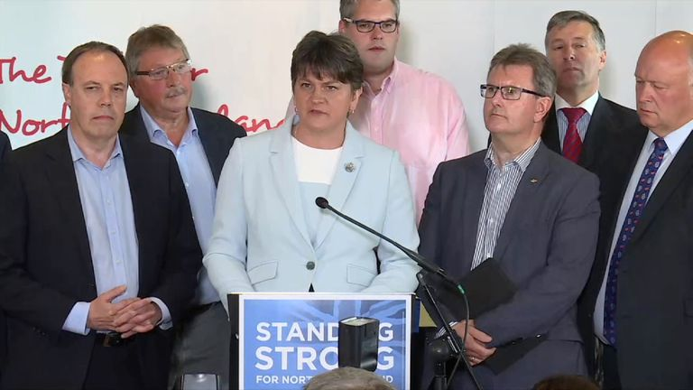 Arlene Foster says that the DUP will enter discussions with the Conservatives over their support for a minority government