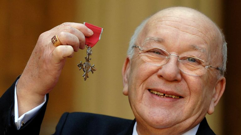 Roy Barraclough with his MBE for services to acting and charity work