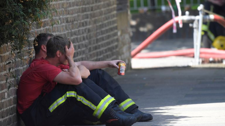 Weary firefighters