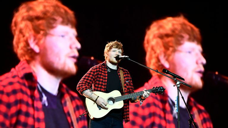 Ed Sheeran performs on the Pyramid Stage at Worthy Farm in Somerset during the Glastonbury Festival