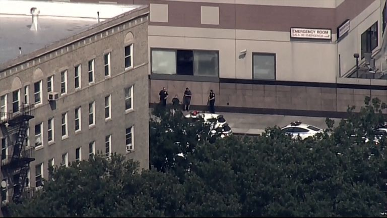 Police outside the hospital