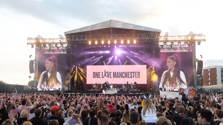 Ariana Grande at the One Love Manchester tribute concert