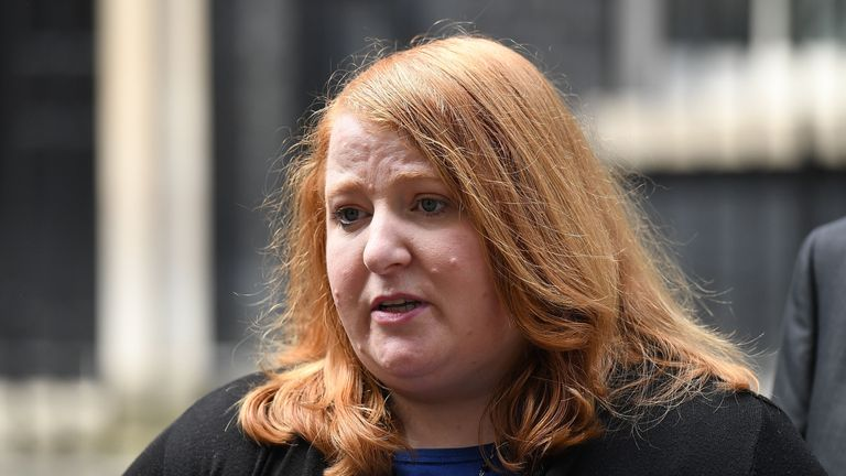 Naomi Long, leader of the Alliance Party of Northern Ireland speaks outside 10 Downing Street
