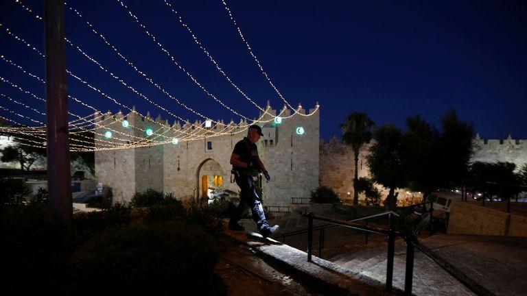 An Israeli policeman outside Damascus Gate in Jerusalem's Old City