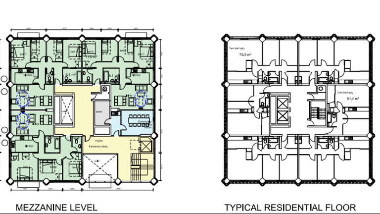 The floor plan of the building, with adjustments proposed to the council in 2012