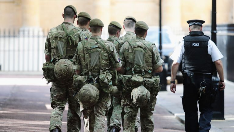 Military personnel are being deployed around the country as the UK terror status is elevated