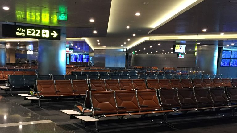 An abandoned departure lounge at Hamad International airport in Doha, Qatar