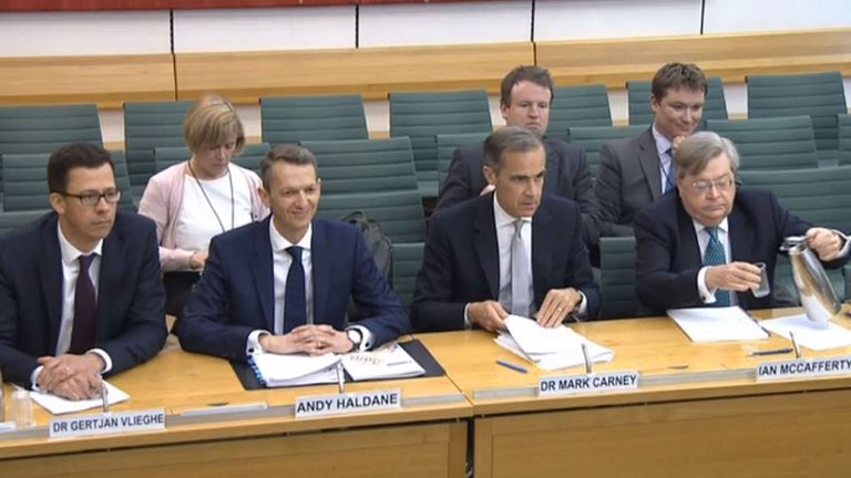 Member of the Monetary Policy Committee of the Bank of England Dr Gertjan Vlieghe, Chief Economist at the Bank of England Andy Haldane, Governor of the Bank of England Mark Carney and member of the Monetary Policy Committee of the Bank of England Ian McCafferty