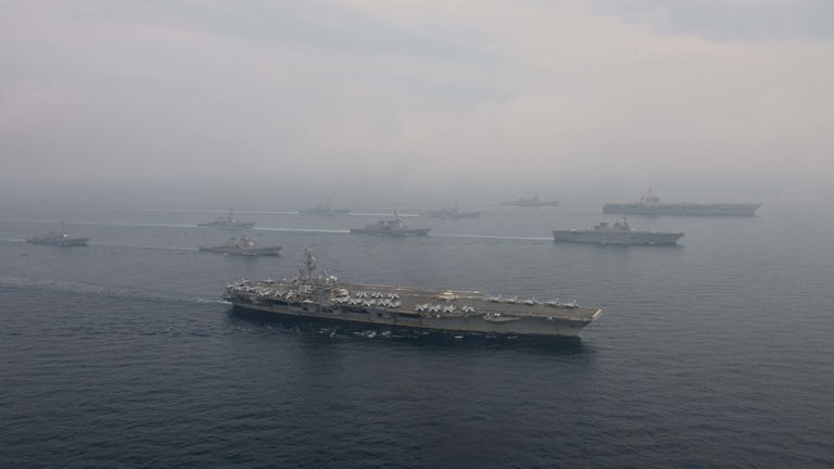 The two US aircraft carriers carried out training with two Japanese ships