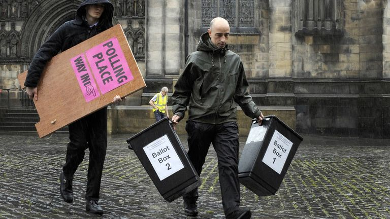 Ballot boxes prepared in Edinburgh ahead of the election