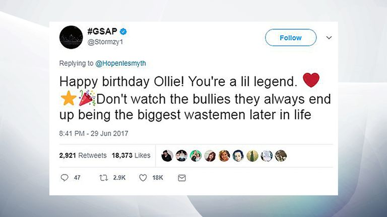Twitter of @Stormzy1 of a reply by Stormzy to an appeal for birthday messages for Chris Hope-Smith's son Ollie
