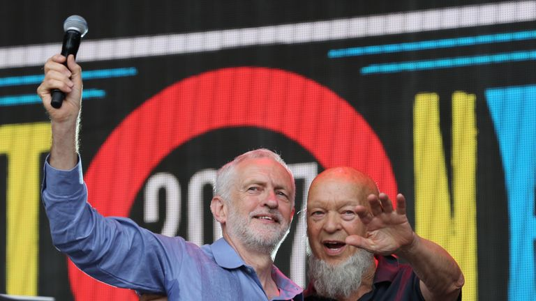 Labour Party leader Jeremy Corbyn (R) and Glastonbury founder Michael Eavis