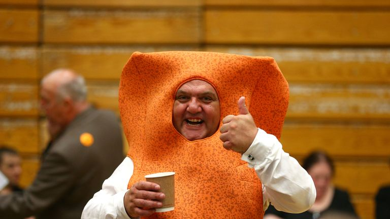 Independent candidate Mr Fishfinger waits for the result at the Westmoorland and Lonsdale constituency count