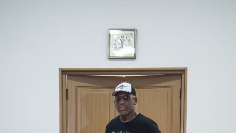Dennis Rodman poses with North Korean Olympic gymnast Ri Se Gwang