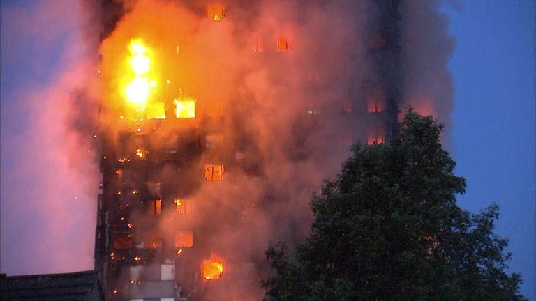 Block of flats in West London on fire.