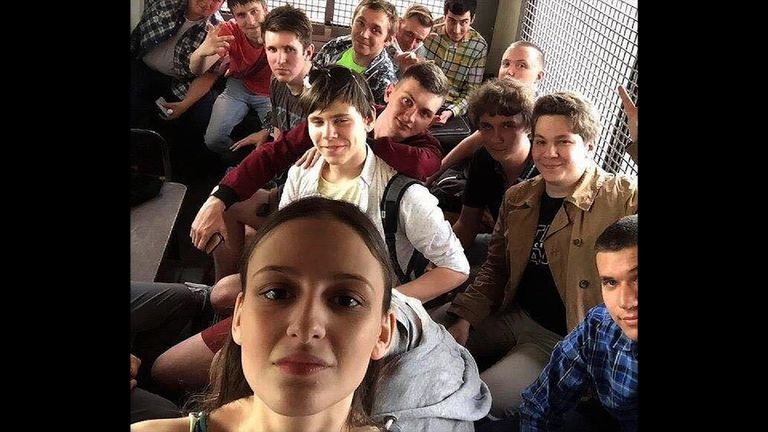 Lucy Shteyn was criticised by some for taking a selfie in the police van