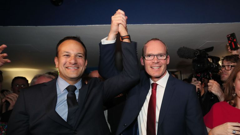 Leo Varadkar is congratulated by his challenger for the top job, Simon Coveney