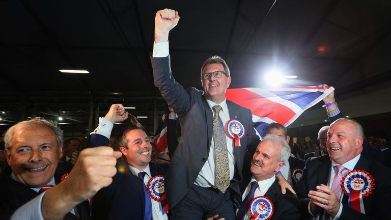 DUP candidate for Lagan Valley Jeffrey Donaldson celebrates following his election at the Eikon Exhibition Centre in Lisburn