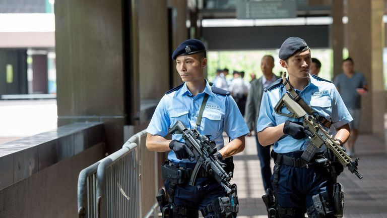Armed police in Hong Kong