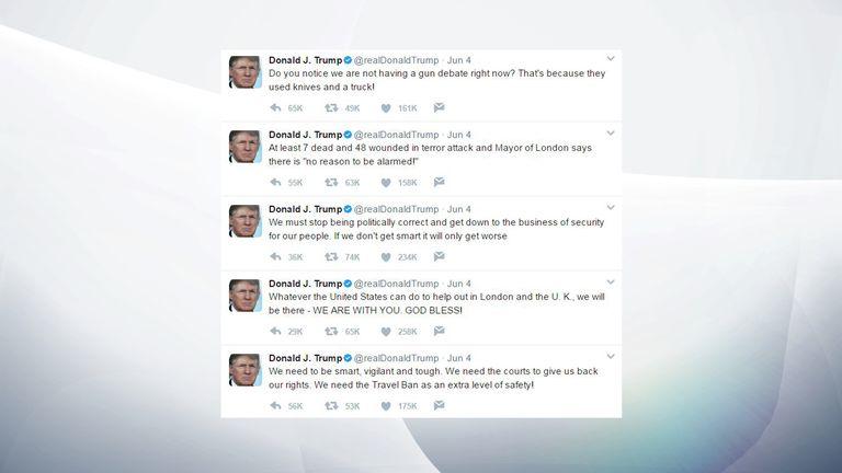 Donald Trump's post-London attack tweets