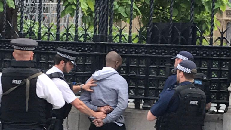 Police arrest a man in Westminster. Pic: @johnaaront