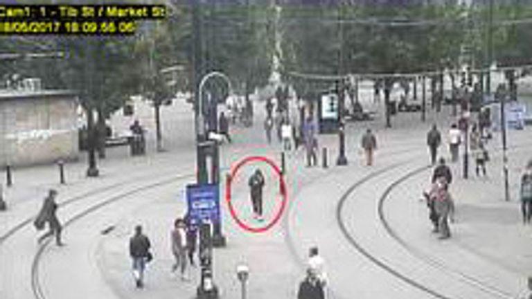 Abedi, circled, captured on TV walking through the town centre