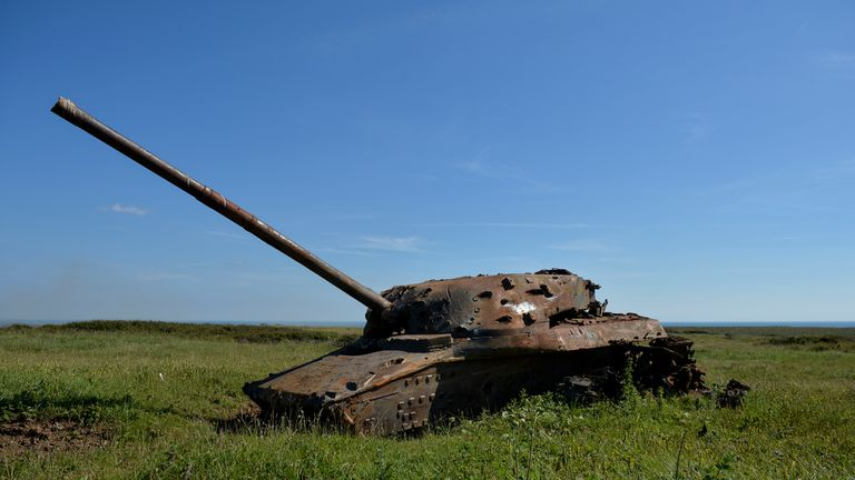 One of the 'heavy' targets on the tank ranges at Castlemartin, Pembrokeshire
