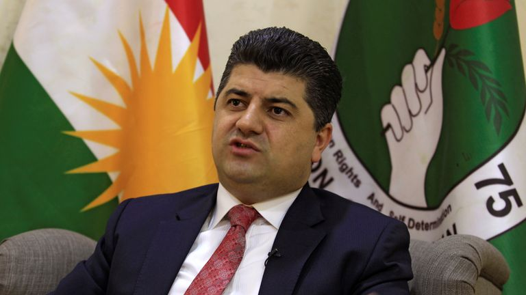 Lahur Talabany, a top Kurdish counter-terrorism and intelligence official, speaks during an interview with Reuters journalists in Sulaimaniya, Iraq February 15, 2017. Picture taken February 15, 2017