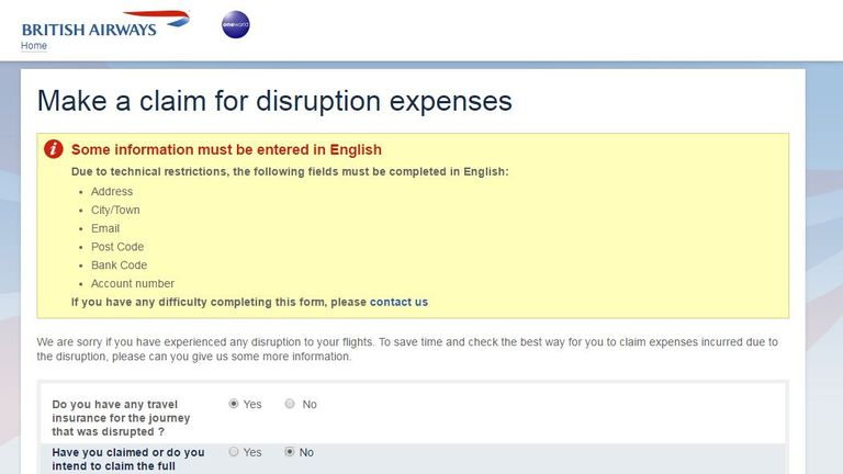 BA's website directs customers to claim against insurance