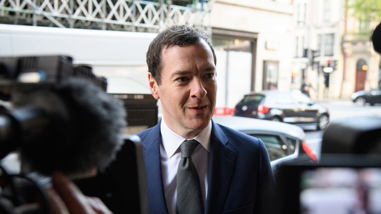 Former Chancellor of the Exchequer George Osborne arrives at the offices of the Evening Standard newspaper on his first official day in the role of editor, on May 2, 2017 in London, England