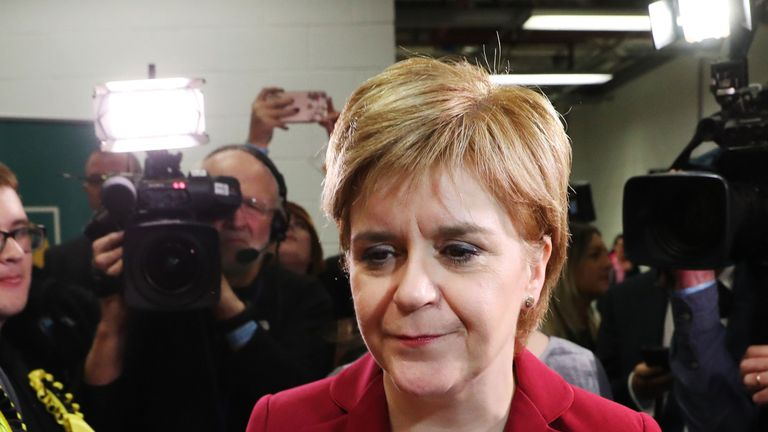 Nicola Sturgeon arrives at the Emirates Arena in Glasgow