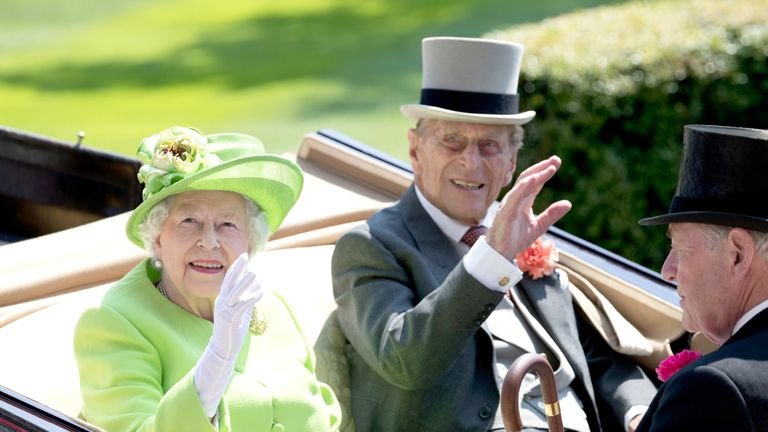 Queen Elizabeth and Prince Philip, Duke of Edinburgh during the Royal Procession on day 1 of Royal Ascot
