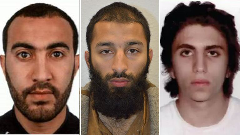 L-R: London Bridge attackers Rachid Redouane, Khuram Butt and Youssef Zaghba