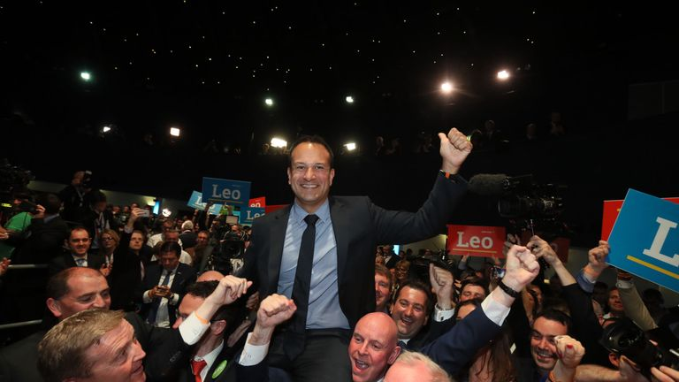 Leo Varadkar celebrates as he is named as Ireland's next prime minister