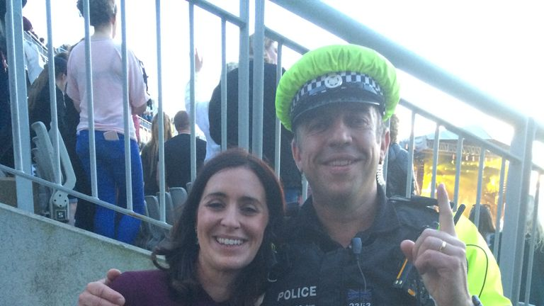Me and one of the many brave Greater Manchester policemen securing the concert