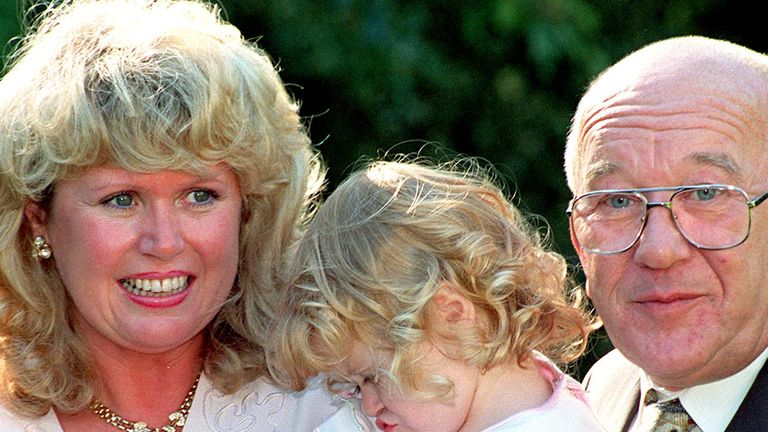 Barraclough with Les Dawson's widow Tracey and daughter Charlotte in 1995